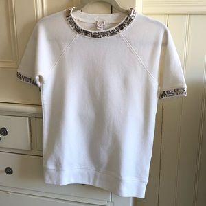 J Crew Jewel Embellished Short Sleeve Sweatshirt